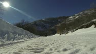 Family winter recreation snow sled mountain rural road HD 003 Stock Footage