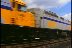 """The Canadian"" train, passby shot, wide shot, in Alberta, Canada Stock Footage"