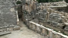 Myra Amphitheater and temple ruins zoom in Stock Footage
