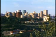 Edmonton, Alberta skyline, late afternoon light, classic view, wide shot Stock Footage