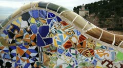 Bench in the Park Güell Stock Footage