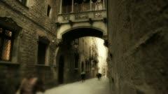 Gothic neighborhood in Barcelona Stock Footage