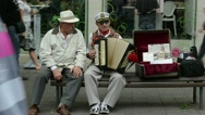 Old man play with retro accordion in outdoor street event Stock Footage