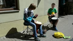 Kids with drums play rhythm outdoor. street music day Stock Footage