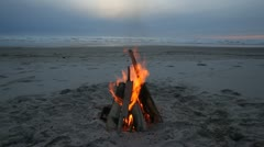 Fire on Beach Loop Stock Footage