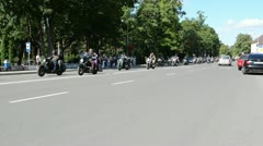 Bikers during birzai bike festival in central vytautas street Stock Footage