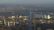Panoramic aerial view over London on a bright day Stock Footage
