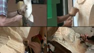 Stock Video Footage of Sculptor working on a wooden