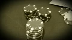 Poker chips and cards black & white Stock Footage