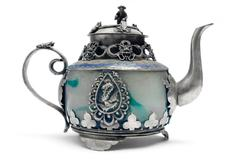 Antique Teapot Isolated on a White Background Stock Photos
