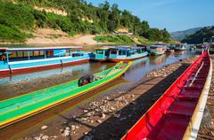 boat in laos - stock photo