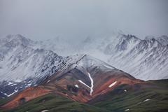 fog in mountains on alaska - stock photo