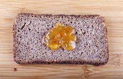 jam on rye bread - stock photo