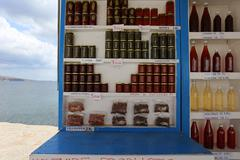 Sellers stand, santorini, greece Stock Photos