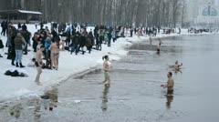 Kiev -jan 19: epiphany (kreshchenya) morning in hydropark on january 19, 2013 Stock Footage