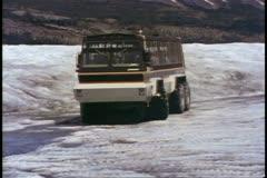 Jasper National Park, Alberta, Canada, Snow Coach, bus on glacier Stock Footage