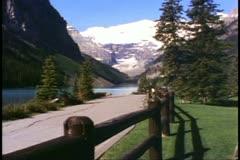 Banff National Park, Alberta, Lake Louise, lake, glacier, split rail fence Stock Footage