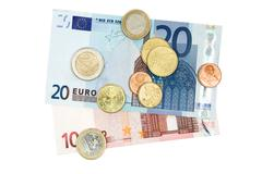 Euro Money Isolated on a White Background Stock Photos