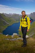 norway with backpack - stock photo