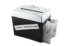 payroll requests box shredder isolated - stock photo