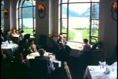 Stock Video Footage of Banff National Park, Alberta, Chateau Lake Louise Hotel, dining room