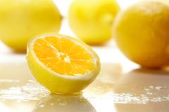 Stock Photo of fresh sliced yellow lemon