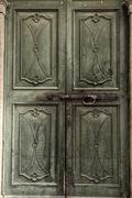 green medieval door - stock photo