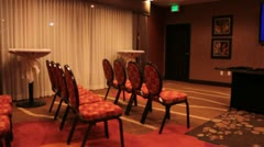 Conference room pan Stock Footage