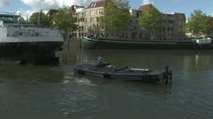 Workboat with barge Stock Footage