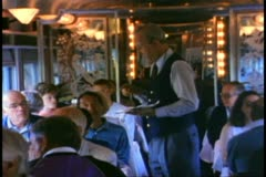 """The Canadian"" train, dining car, steward takes order Stock Footage"