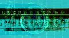 vintage radio receiver, frequency dial moving - stock footage