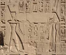 relief at precinct of amun-re - stock photo