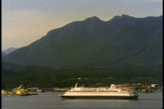 Vancouver, British Columbia, Holland America and Princess ship sail Stock Footage