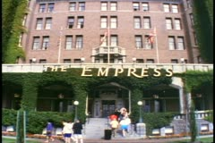 Victoria, British Columbia, Canada, Empress Hotel, low front shot of sign Stock Footage