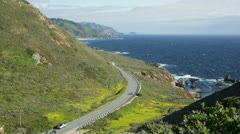 Big Sur, California, Highway 1 from above - stock footage