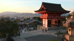Kyoto temple complex, visitors time lapse, religion, skyline, city Japan - stock footage