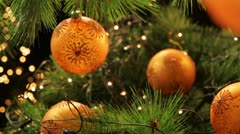 Decoration ball on a green Christmas tree 3 Stock Footage