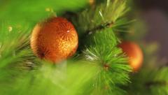 Decoration ball on a green Christmas tree 7 Stock Footage