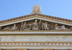 Pediment in Greek monument Stock Photos