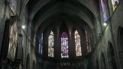 Beautiful Gothic Church in Barcelona Stock Footage