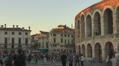 Verona ,Italy,Colloseum.Tourists in front of coliseum Stock Footage