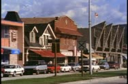 Jasper, Alberta, Canada,  medium shot of village, people, traffic Stock Footage