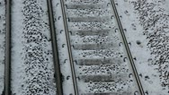 Snow on railway tracks close up Stock Footage