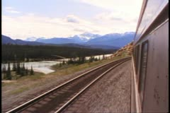 """The Canadian"" train, POV out side of train, train ahead, curving tracks Stock Footage"