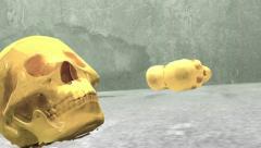 Skulls falling skull death Stock Footage