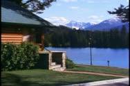 Jasper Park Lodge, Alberta, Canada, chalet, lake and mountains Stock Footage