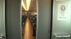 Walking through a Japanese bullet train (Shinkansen) Stock Footage