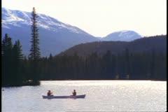 The lake at the Jasper Park Lodge, Alberta, Canada Stock Footage