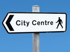 English city centre direction sign. Stock Photos
