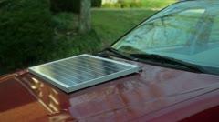 Solar panel on car Stock Footage
